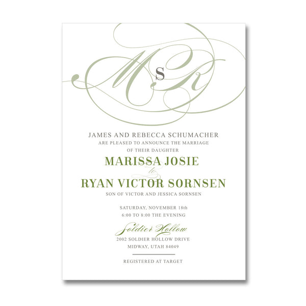 Large Monogram Wedding Invitations