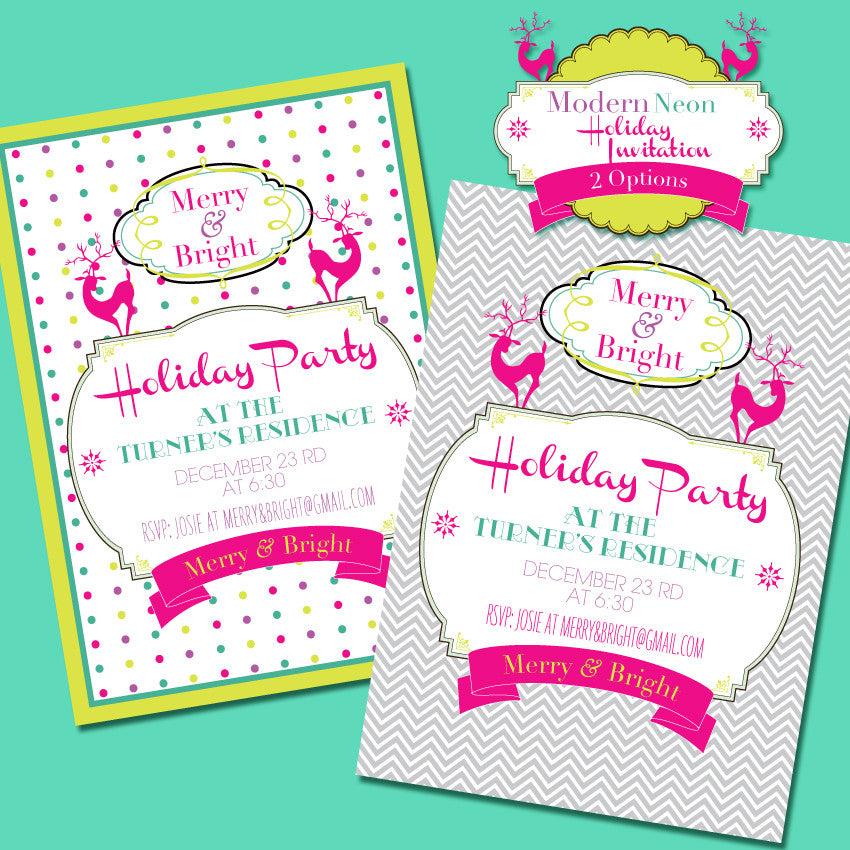 graphic about Printable Christmas Party Invitations named Merry Shiny Innovative Neon printable Xmas get together invite by means of Demands and Wants