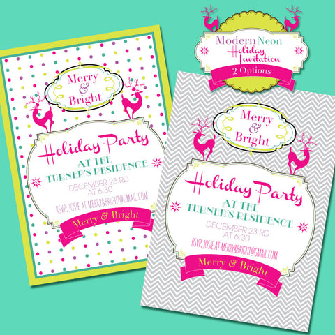 Merry & Bright Modern Neon printable Christmas party invite by Wants and Wishes