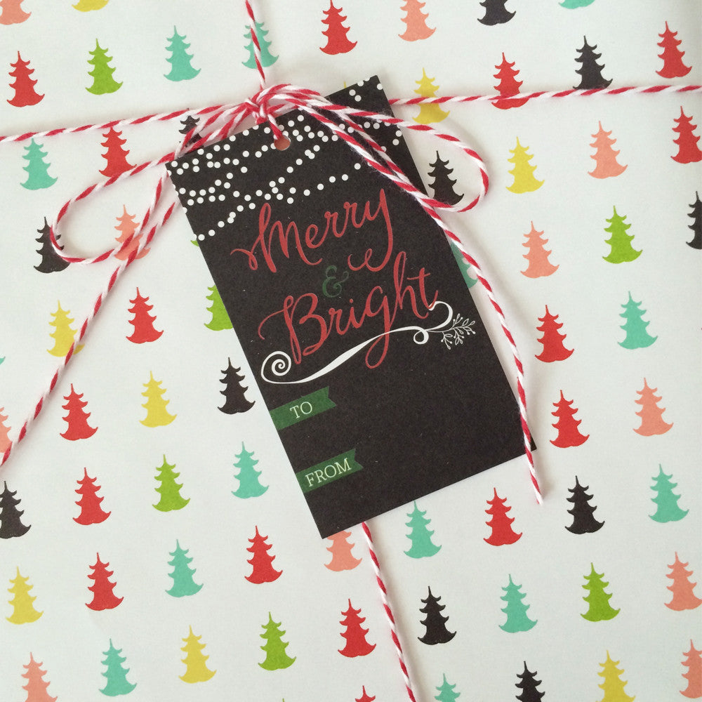 Merry & Bright Christmas gift tag