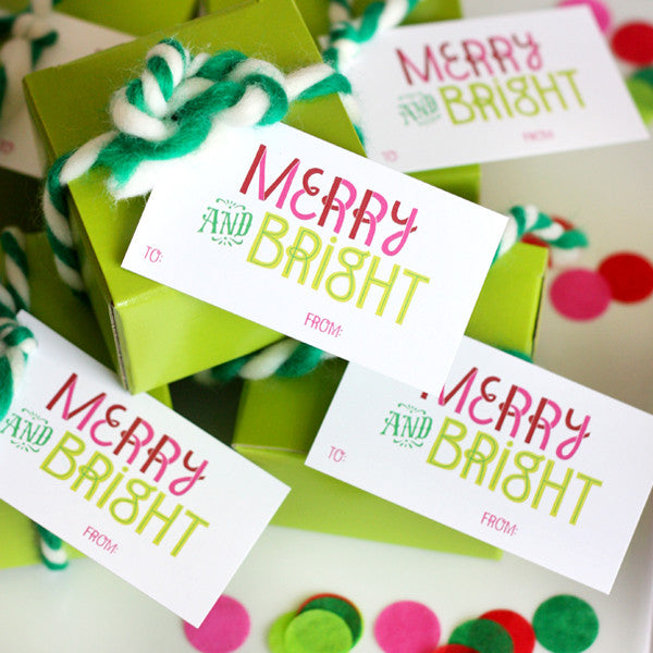 Merry & Bright Christmas tag