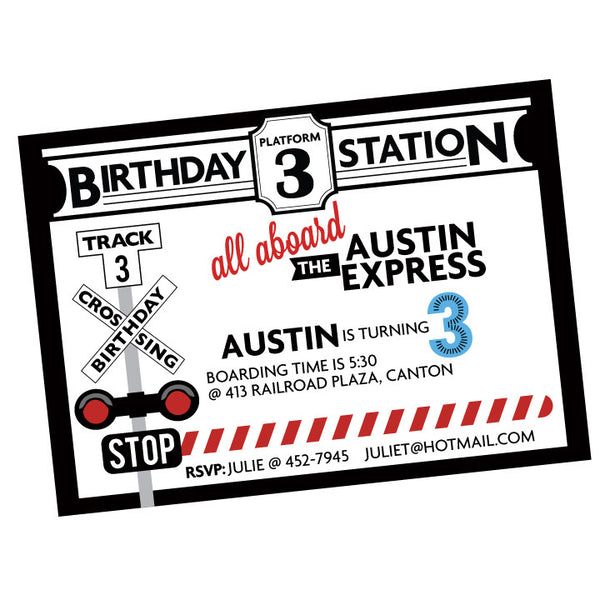 MODERN Train printable Invitation- coordinates with Modern Train collection by Wants and Wishes
