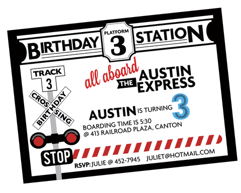 Printable Modern Train- FULL Birthday Collection