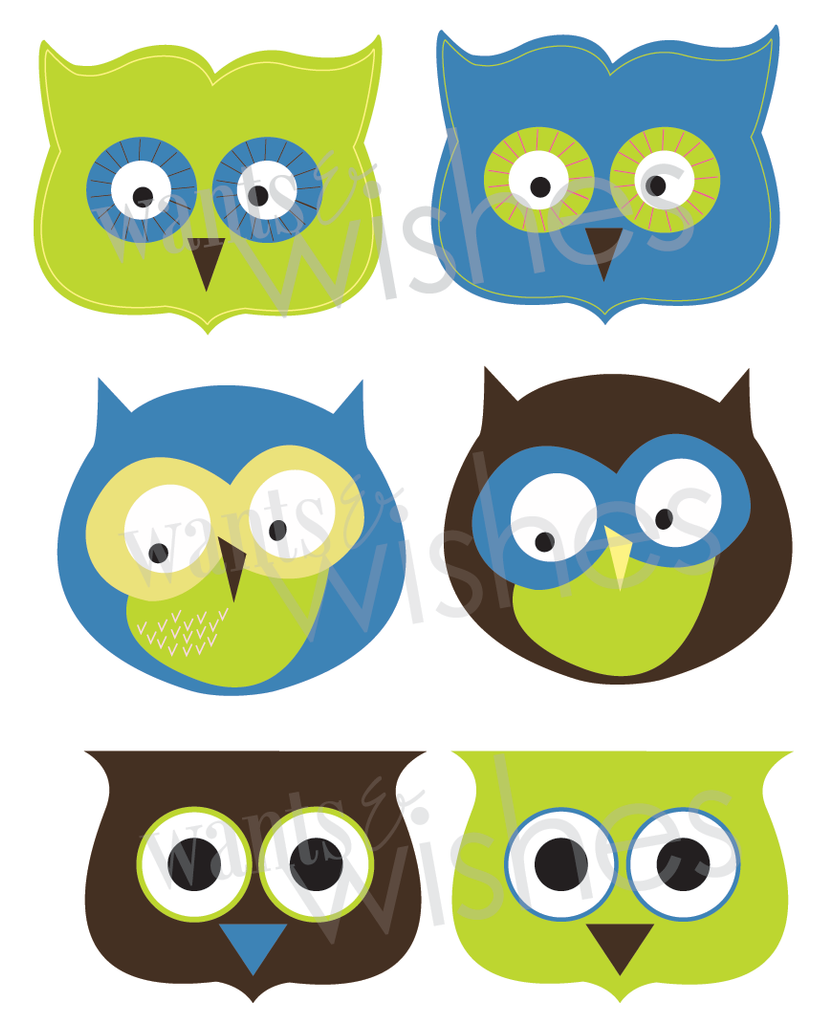 Printable Owl Favor/Treat Bag Toppers- Rock Collection