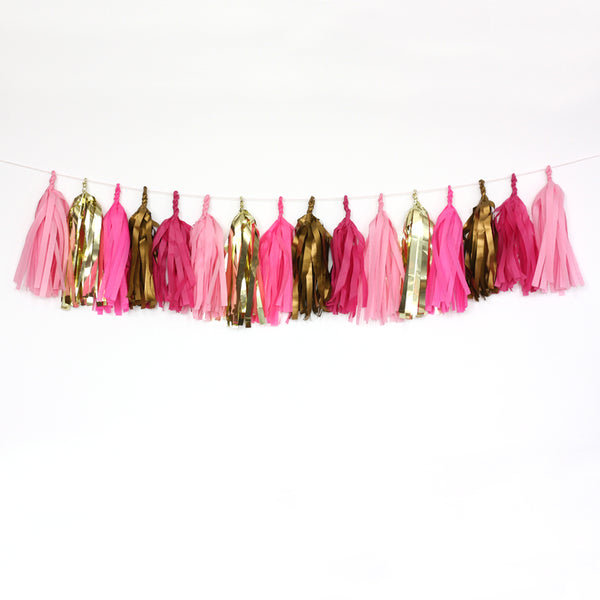 Pink Glam Fringe Tissue Tassel Garland Kit or Fully Assembled