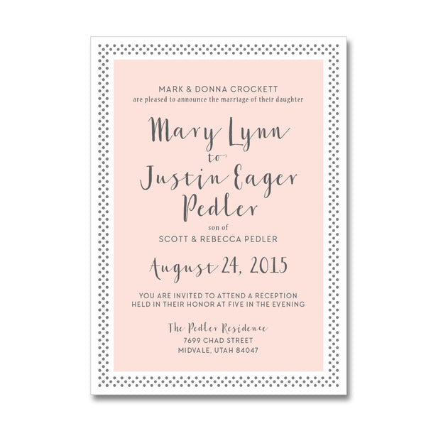 Polka Dot Border Wedding Invitations