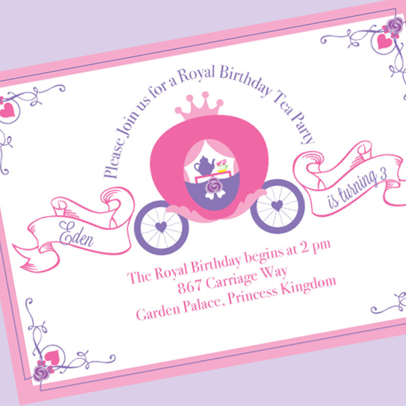 Princess Carriage Tea Party Birthday printable Invitation by Wants and Wishes