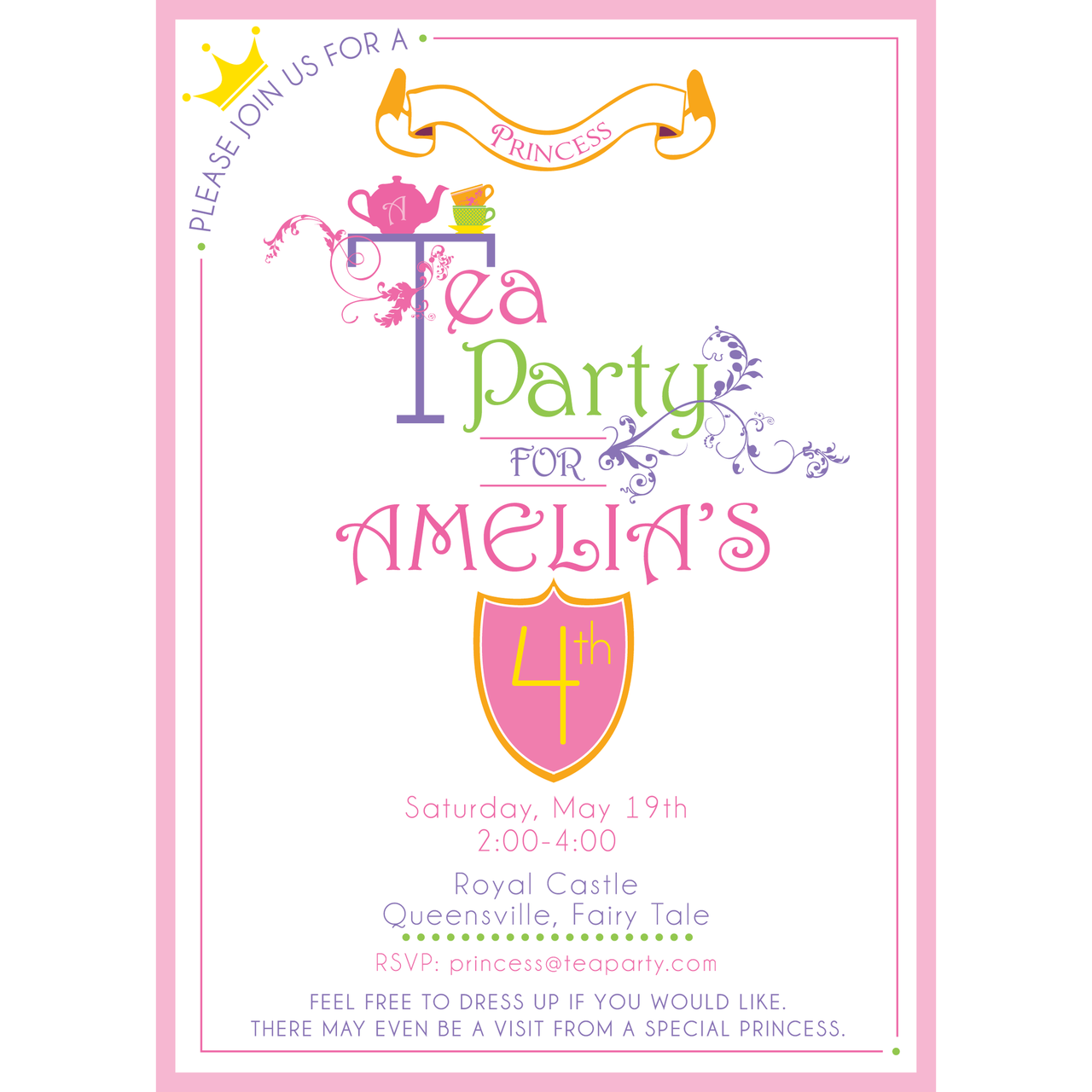 graphic about Tea Party Printable called Princess Tea Get together printable Birthday Invitation as a result of Requirements and Needs