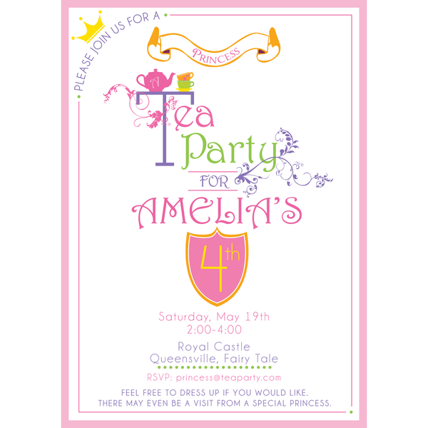 Princess Tea Party printable Birthday Invitation by Wants and Wishes