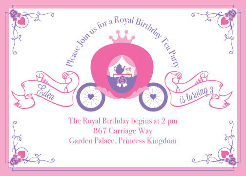 Princess Carriage Tea Party Birthday Printable Invitation By Wants And