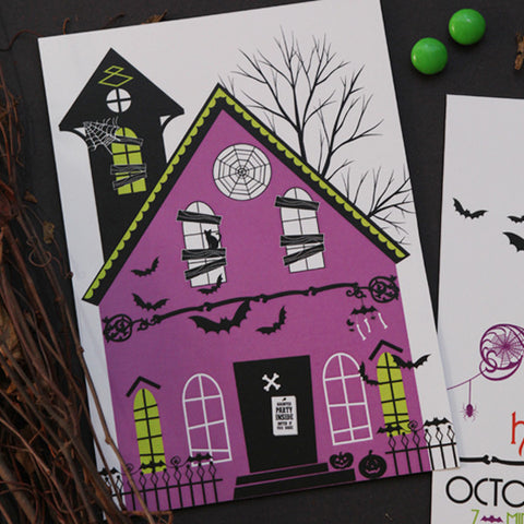 Halloween Glam Haunted House printable invitation- 3 options