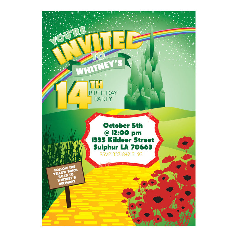 Wizard of Oz printable Birthday party invitation