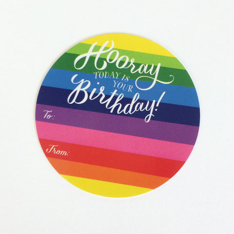 Hooray Birthday Rainbow Birthday Sticker tags