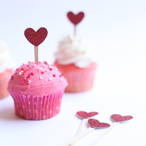 Mini Red Heart cupcake toppers