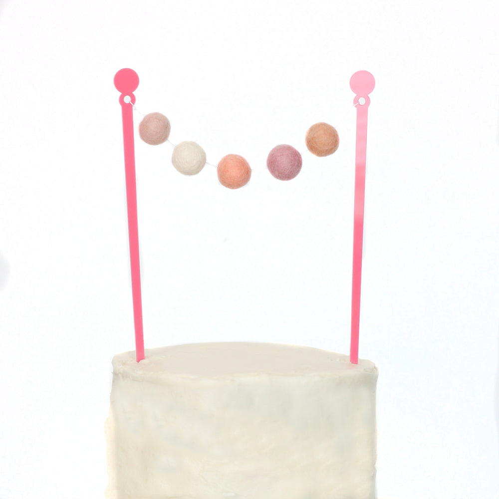 Rose Gold Cake Bunting Topper