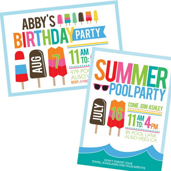 Popsicles & Sunglasses printable BIRTHDAY Party - Summer Days Collection Invitation