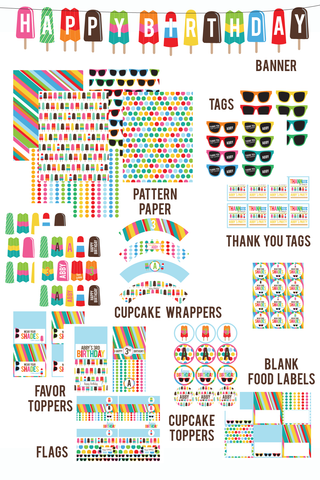 printable Popsicles & Sunglasses BIRTHDAY Collection by Wants and Wishes