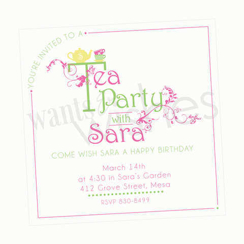 Sweet Tea printable Birthday Invitation by Wants and Wishes