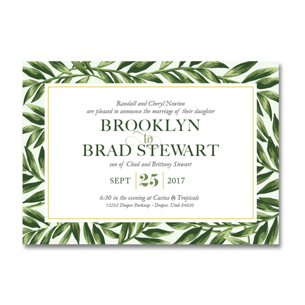 Tropical Foliage Wedding Invitations