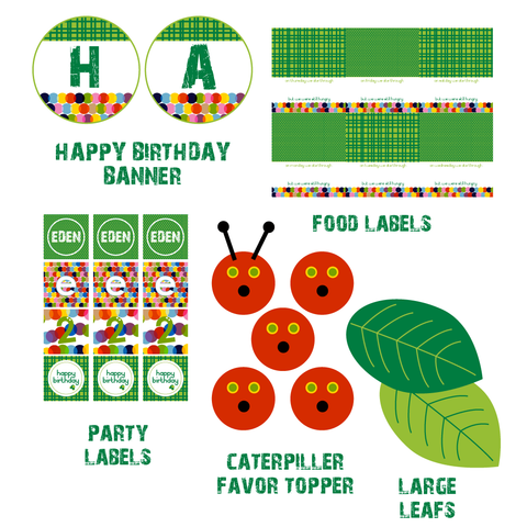 printable Modern Very Hungry Caterpillar INSPIRED birthday collection by Wants and Wishes