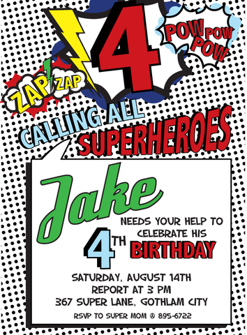 Vintage Superhero printable invite- 2 options