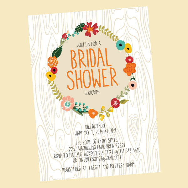 Wood Grain Love Bridal Shower Invitation