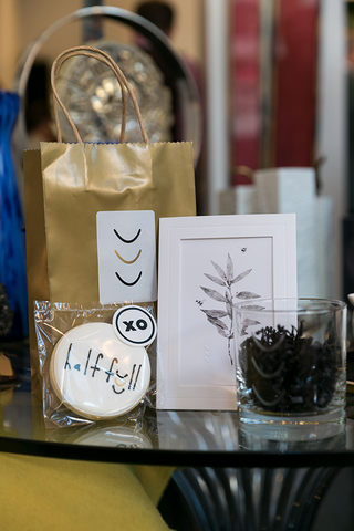 Gift Bags Include Etched Glasses and XO Bakes Cookies