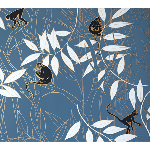 Spider Monkey - Monkeys Before Dawn - Linen Fabric