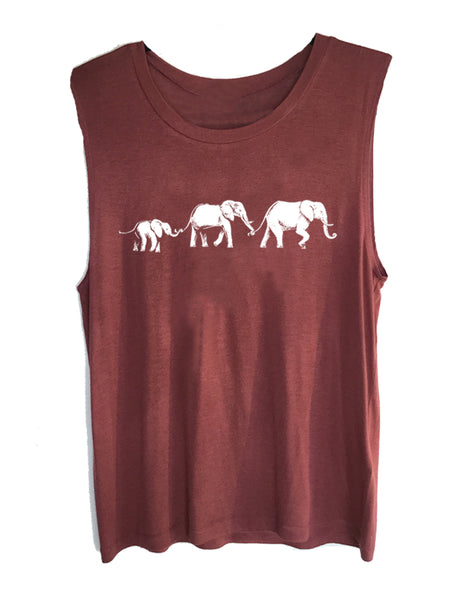 4th and Rose One Love Elephant Berry Muscle Tank