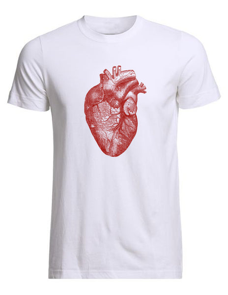 Anatomical heart white men's tee