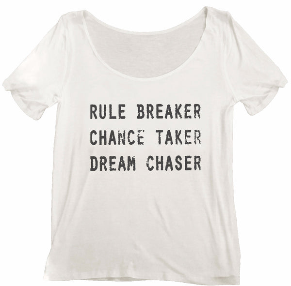 4th & Rose Breaker, Taker, Chaser White Scoop Neck Tee