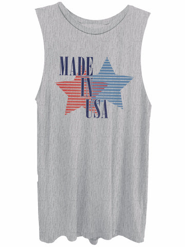 Made in the USA heather grey muscle tank