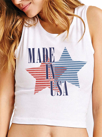 Made in the USA red and blue graphic on a white crop tank