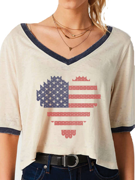 4th & Rose Stitched American Flag Ringer Loose Tee