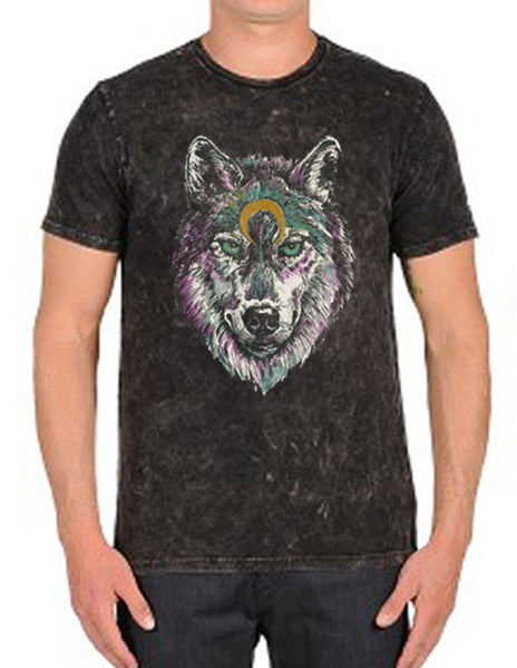 4th & Rose Bird Black Space Wolf Men's Charcoal Mineral Wash Tee
