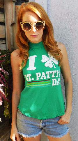 I Love St Patty's Day Green Mock Neck Muscle Tee