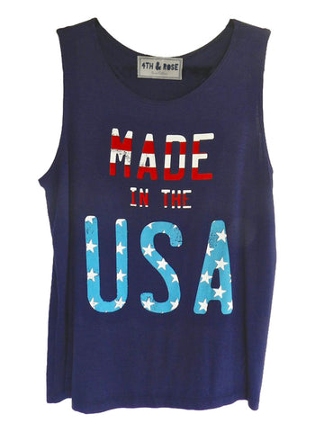 Made in the USA navy blue muscle tank