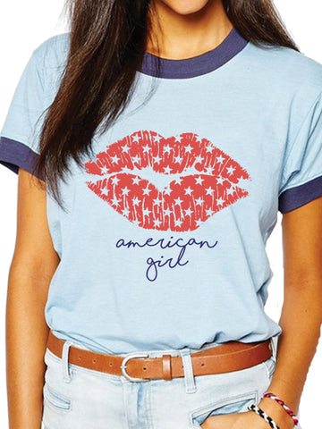 Show American pride with starry lips in this American girl retro patriotic ringer.