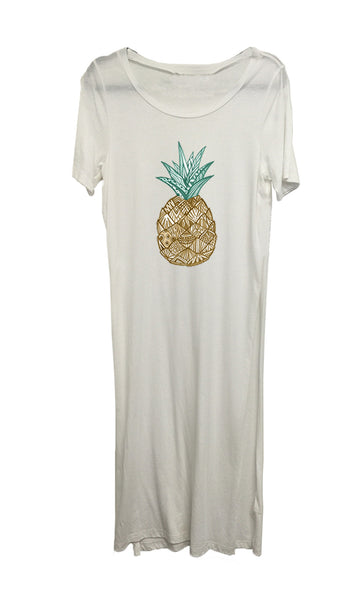 4th & Rose Funky Pineapple Maxi Tee Dress
