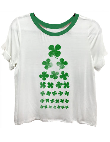 Shamrock seeing Eye Chart white and green ringer tee