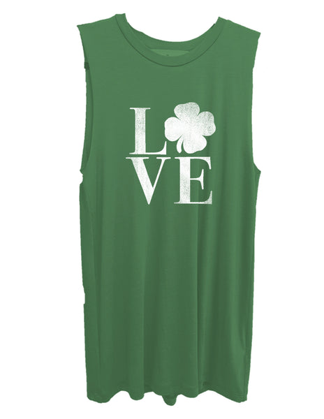 Shamrock Love Green Graphic Muscle Tank