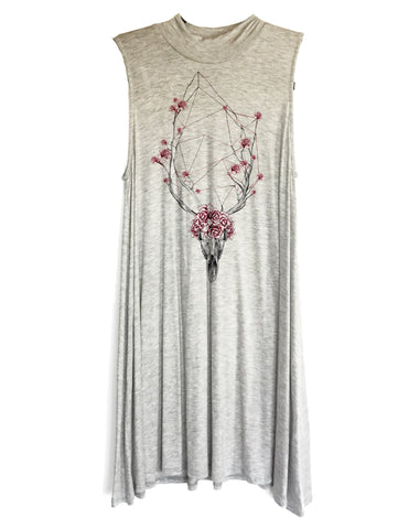 Flowering Skull Mock Neck Sleeveless Tunic
