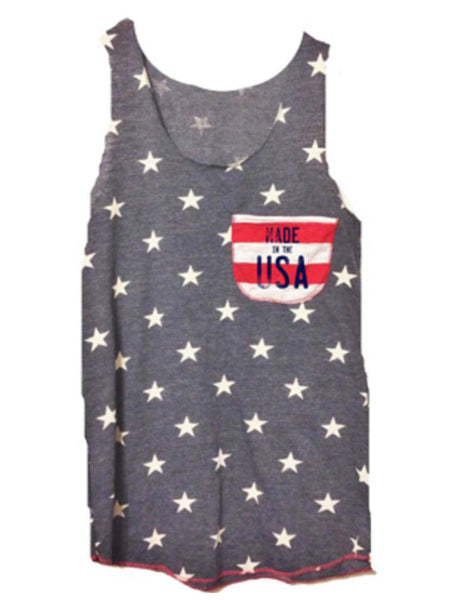 All over stars navy tank with a made in the USA graphic pocket hit