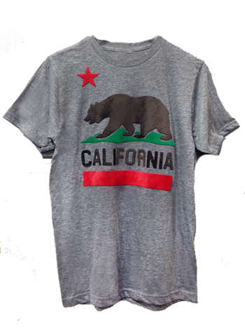 California heather grey fuzzy men's tee
