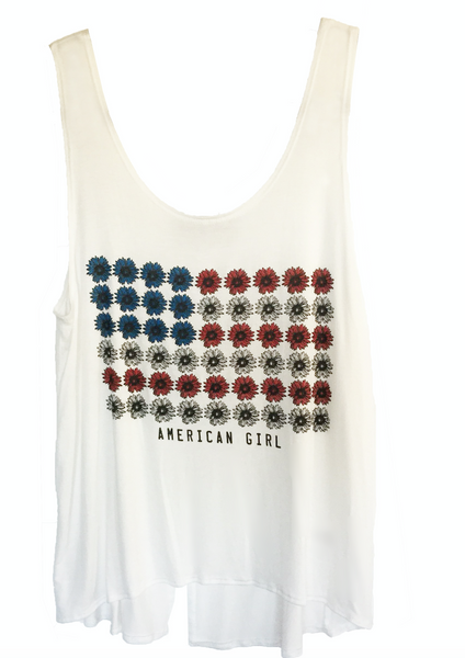 Wear your American pride in this sweetly patriotic American Girl daisy flag off white open back tank.
