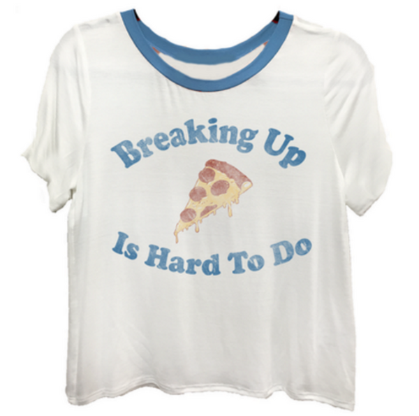 Sometimes breaking up is hard to do, but pizza makes everything better in this white & blue ringer tee.