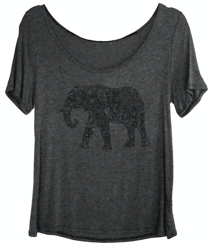 Take a walk with this intricate, artistic, elephant on a scoop neck charcoal butterfly tee.