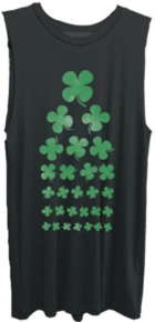 Seeing eye chart shamrock on black muscle