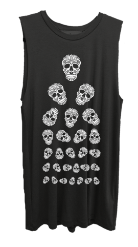 4th & Rose Skull Eye Chart Heather Charcoal Muscle Tank