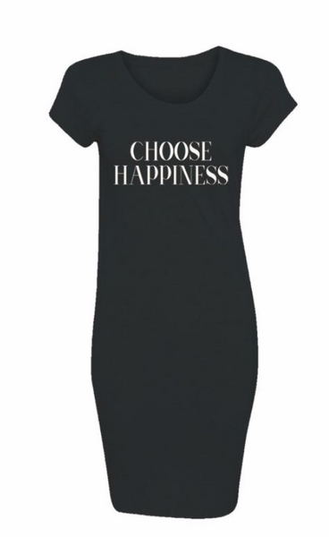 choose happiness black and white maxi tee dress graphic